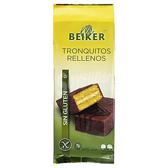 Beiker Tronquito relleno cubierto de chocolate sin gluten (pastelitos tipo bizcochito) 10 unidades de 35 g