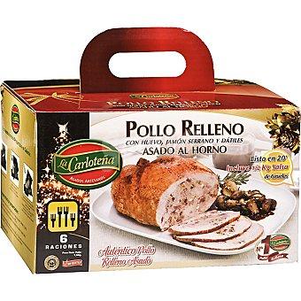 La Carloteña Pollo relleno con huevo, jamón serrano y dátiles asado al horno 6 raciones Caja 1,5 kg