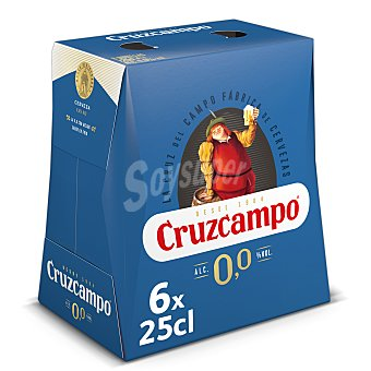 Cruzcampo Cerveza sin alcohol 0,0% Pack 6 botellines x 25 cl