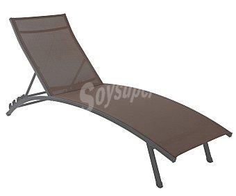 GARDEN STAR Tumbona multiposición para jardín. Fabricada en acero de color marrón y asiento y respaldo de textileno marrón 1 unidad