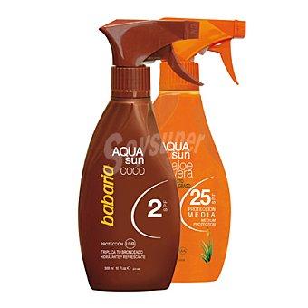 Babaria Aqua Sun de coco FP 2 + aloe vera FP 25 Pack 2x300 ml