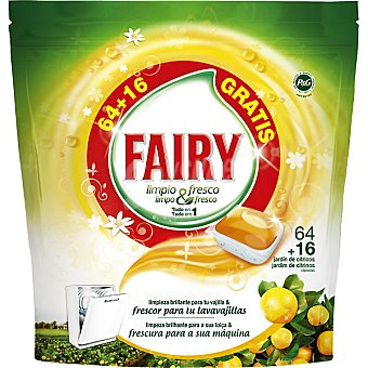 FAIRY limpio & fresco detergente lavavajillas Fresh Orange jardín de cítricos todo en  1 envase 64 unidades + 16 gratis