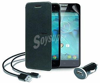 """Qilive Pack para smartphone Qilive 5"""" Q.4688 Cargador para coche Usb, funda con tapa, cable y protector de pantalla (teléfono no incluido)"""