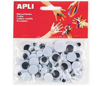 APLI Bolsa de 75 ojos móviles adhesivos y de goma eva apli