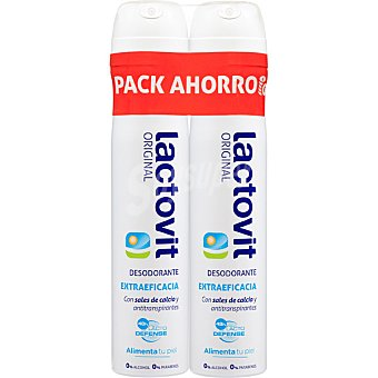 Lactovit Desodorante Original con sales de calcio y antitranspirantes sin alcohol pack 2 spray 200 ml Pack 2 spray 200 ml