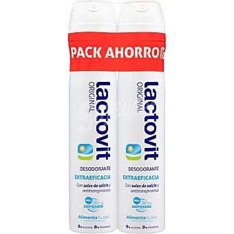 Lactovit Desodorante Original con sales de calcio y antitranspirantes sin alcohol pack 2 spray 200 ml Pack 2 spray 200 ml