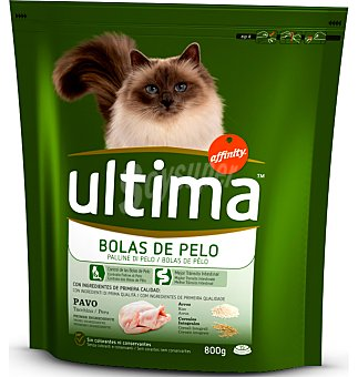 Ultima Affinity Pienso para gatos control bolas de pelo sabor pavo Bolsa 800 g
