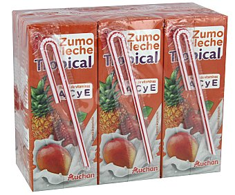 Auchan Zumo con frutas tropical 6 Unidades 200 Mililitros