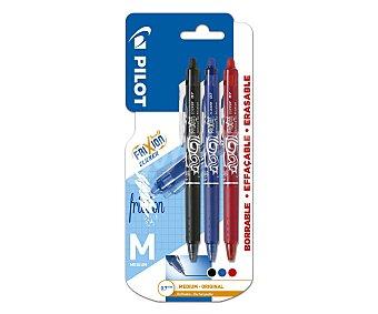PILOT Frixion 3 bolígrafos retráctiles roller, punta media, grosor 0.7mm, varios colores Frixion ball clicker