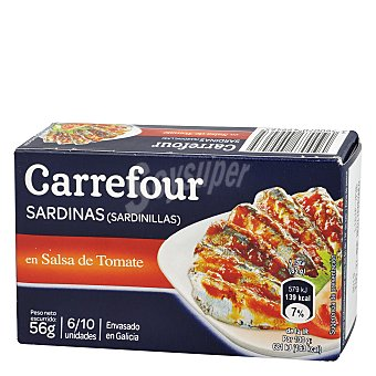 Carrefour Sardinilla tomate aceite vegetal 56 g