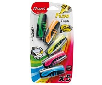 Maped Lote de 5 minimarcadores fluorescentes y de colores amarillo, naranja, rosa, verde y azul 1 unidad
