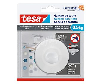 Tesa Tape Gancho de techo para papel pintado y yeso 0,5 kg, fácil de quitar y poner, tesa. 0,5 kg