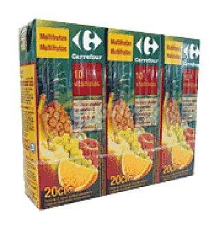 Carrefour Zumo Multifrutas con 10 vitaminas Pack de 3