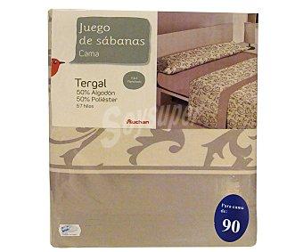 Auchan Juego de sábanas etampadas, modelo Robledo en tonos bisón para cama de 90 centímetros 1 unidad