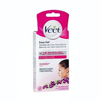 Veet Bandas de cera depilatoria facial para pieles normales 20 uds