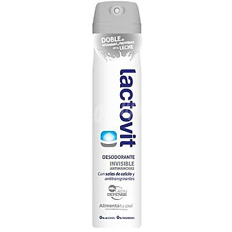 Lactovit Desodorante invisible antimanchas sin alcohol con sales de calcio y antitranspirantes spray 200 ml con doble de vitaminas y proteínas de la leche Spray 200 ml