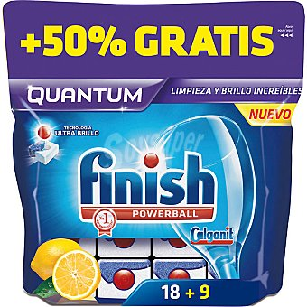 Finish Detergente lavavajillas Power Ball Quantum limon bolsa 18 pastillas Bolsa 18 pastillas