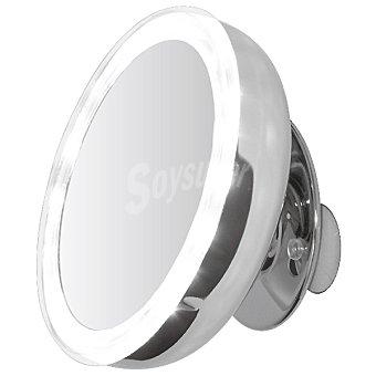 CASACTUAL Espejo de 5 aumentos con ventosas y luz en color acrílico cromo 13 cm