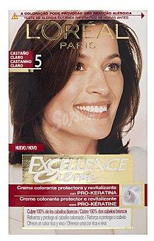Excellence L'Oréal Paris Tinte Castaño Claro nº 5 crema color triple cuidado caja 1 unidad con Pro-keratina + Ceramida + Colágeno Caja 1 unidad