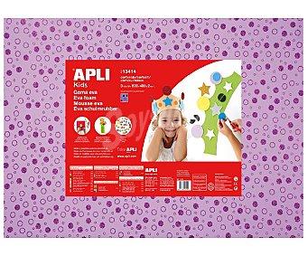 APLI Plancha de foam, goma eva con Impresión de círculos brillantes sobre fondo violeta y dimensiones 400x600x2 milímetros 1 unidad