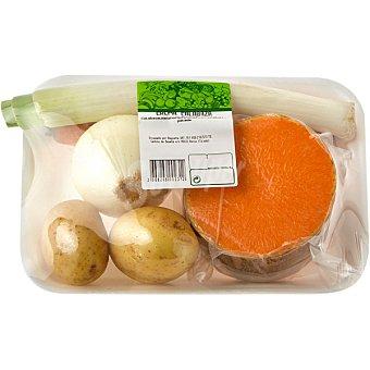 Surtido de Verduras para Crema de Calabaza con Patata, Zanahoria y Puerro - Peso Aproximado Bandeja 1 kg