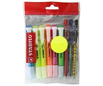 STABILO BOSS Marcadores Fluorescentes Diseñados con Motivos de Animales, Plano con Clip, 6 Colores Tropicana + 3 Bolígrafos con la misma Temática 9 Unidades