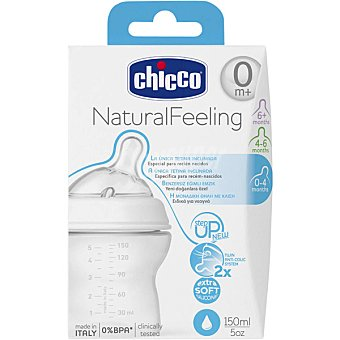 Chicco Natural Feeling biberón de 150 ml transparente con tetina flujo normal 0m+ 1 unidad 150 ml