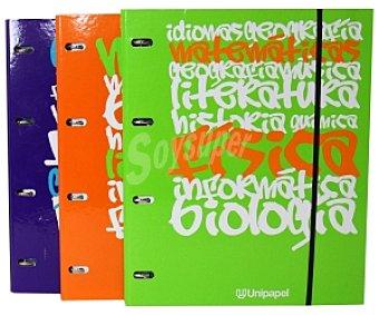 PACSA Carpeta 4 Anillas Tamaño Folio Más Recambio Cuadrícula de 5 Milímetros 120 Hojas Más Separadores y Cierre con Gomas 1 Unidad
