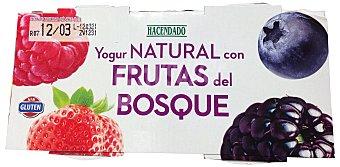 Hacendado Yogur natural con frutas del bosque (bicapa) 2 unidades de 150 g (300 g)