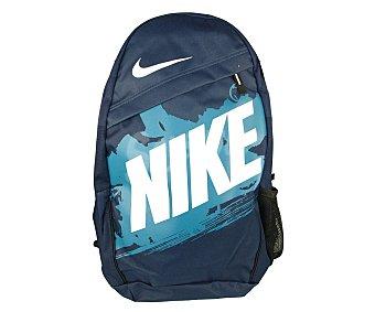 Nike Mochila con asas reforzadas, amplio bolsillo frontal con cierre de cremallera, bolsillo lateral de malla y de color azul 1 unidad