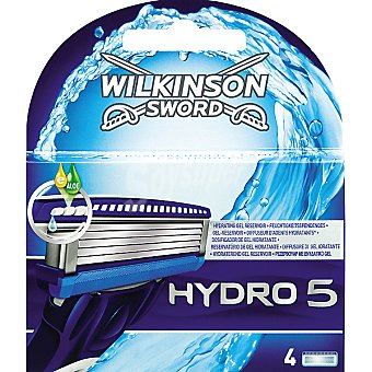Wilkinson Recambio maquinilla de afeitar Hydro 5 estuche 4 unidades