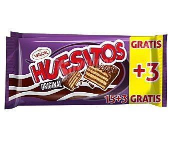 Huesitos Valor Crujiente barrita de barquillo cubierto de chocolate con leche y con relleno de chocolate, 360 gramos, 18 unidades 360g