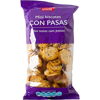 Aliada Mini biscotes con pasas bolsa 150 g