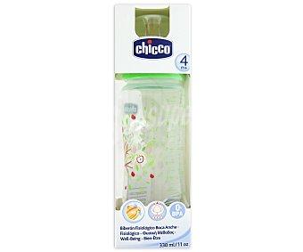 Chicco Biberón fisiológico boca ancha, flujo papilla, M 330 ml +4