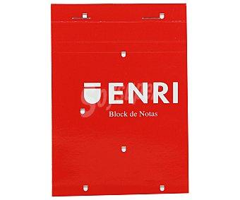 Enri Bloc de notas grapado, con 80 hojas 60 gramos, cuadrícula de 4x4 milimetros y tapa de color rojo enri 1u