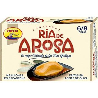 Conservas Ortiz ría de Arosa mejillones en escabeche fritos en aceite de oliva gigantes 6-8 piezas Lata 69 g