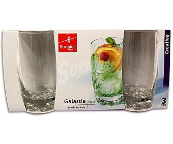 BORMIOLI Pack de 3 vasos altos de agua o refrescos modelo Galassia, con capacidad de 41 centilitros y fabricados en vidrio transparente 1 Unidad