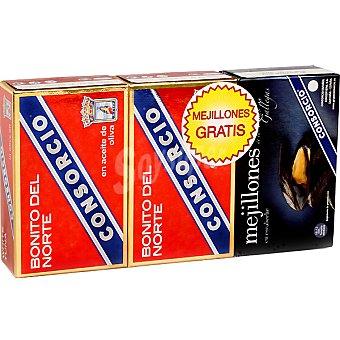 Consorcio bonito del norte en aceite de oliva neto escurrido + gratis 1 lata de mejillones pack 2 latas 82 g