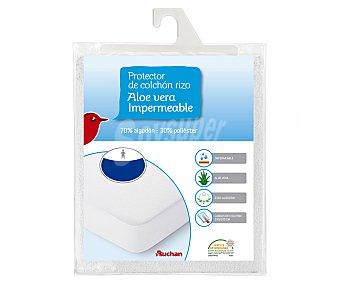 Auchan Protector impermeable para colchón de 150 centímetros, tejido rizo 70% algodón, 30% poliéster con tratamiento de aloe vera 1 unidad