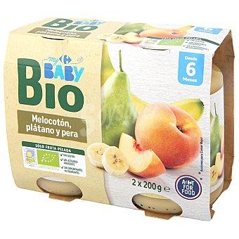 Carrefour Baby Tarrito de Melocotón con Platano y Pera Ecológico Bio desde 6 meses Pack de 2 unidades de 200 g