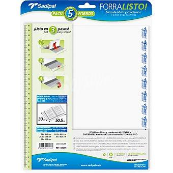 SADIPAL Forros para libros y cuadernos ajustables a diferentes anchuras con sistema auto-adhesivo 30 cm Pack 5