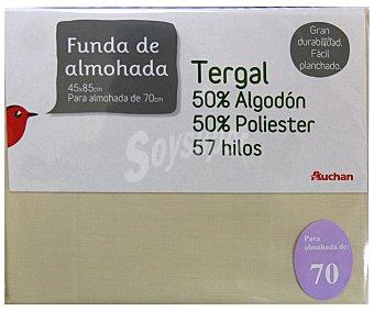Auchan Funda de almohada color tierra, 70 centímetros 1 Unidad