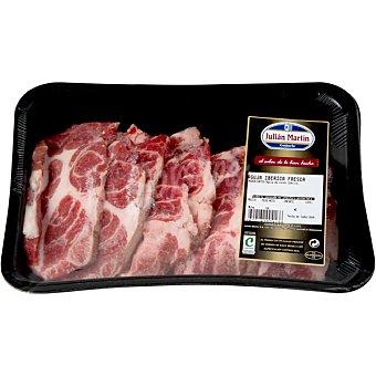 JULIAN MARTIN Aguja fresca de cerdo ibérico en filetes bandeja peso aproximado 700 g
