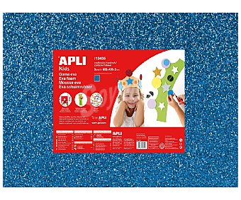 APLI Plancha de foam, goma eva de color azul con purpurina y dimensiones 400x600x2 milímetros 1 unidad