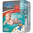 Pañales Premium de 3 a 6 kg TALLA 2  Paquete de 70 unidades Moltex