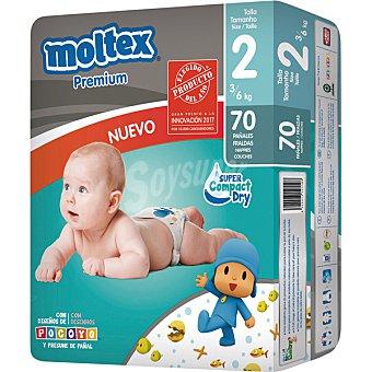 Moltex Pañales Premium de 3 a 6 kg TALLA 2  Paquete de 70 unidades