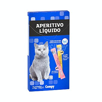 Compy Comida gato snack aperitivo líquido (4 pollo hígado - 4 salmón) Paquete 8 u x 15 g - 120 g