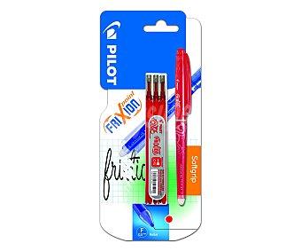 Pilot Bolígrafo del tipo roller, con punta de aguja con grosor de escritura de 0.5 milímetros + 3 recambios de tinta líquida borrable de color rojo frixion point