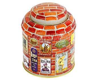 VIROJANGLOR Caja metálica con tapa domo para té, modelo Brique, 125 gramos de capacidad, diseño retro, 9x11 centímetros 1 Unidad