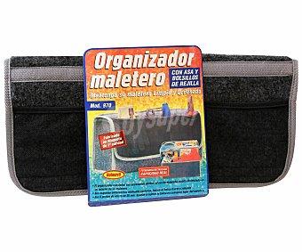 ROLMOVIL Organizador de maletero fabricado en moqueta de color negro, con diferentes compartimentos y compatible con cualquier maletero 1 unidad